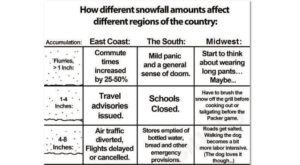 This Hilarious Chart Shows How Different Parts Of The Country React To Snowfall
