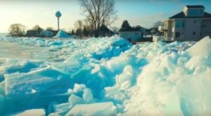 Parts Of Michigan Are Being Taken Over By The Most Surreal Blue Ice Formations