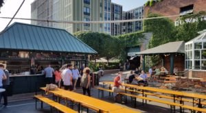 The Outdoor Beer Garden In Michigan That's Located In The Most Unforgettable Setting