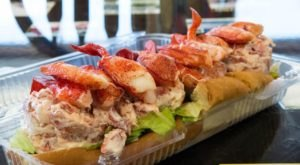 The Lobster Rolls At This Maine Restaurant Are So Gigantic They Fall Off The Plate