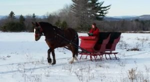 Enjoy A 30-Minute Sleigh Ride Through A Winter Wonderland In Casco In Maine