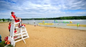 Summer In Greater Cleveland Isn't Complete Without A Road Trip To This Beach With An Inflatable Wonderland