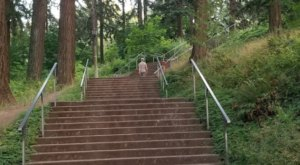The Staircases At Mt. Tabor Park In Oregon Takes You To A Beautiful City View