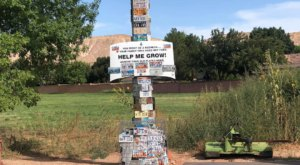 Visit The License Plate Pole In Utah To See A Quirky 81-Foot-Tall Tower Covered In License Plates