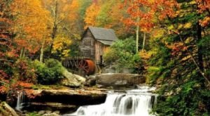 The Glade Creek Falls In West Virginia Is Surrounded By Beautiful Fall Colors