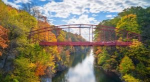 Walk Across Falls Bridge For A Gorgeous View Of Connecticut's Fall Colors