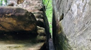 Squeeze Through Inches Of Rock Along The Popular Trail To Natural Bridge In Kentucky