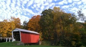 Walk Across The Trusal Covered Bridge For A Gorgeous View Of Fall Colors Near Pittsburgh