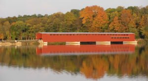 The Longest Covered Bridge In Michigan, Langley Covered Bridge, Is 282 Feet Long