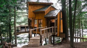 Experience The Fall Colors Like Never Before With A Stay At The Vermont Tree Cabin at Walker Pond