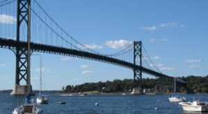 Cruise Across The 1200-Foot Suspension Mount Hope Bridge In Rhode Island