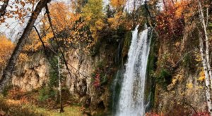 Spearfish Falls In South Dakota Is Surrounded By Beautiful Fall Colors