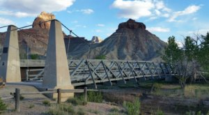 Walk Across A 160-Foot Suspension Bridge At San Rafael Bridge Campground In Utah