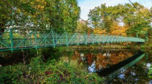 Walk Across A 275-Foot Suspension Bridge Near Milford Oval In New Hampshire