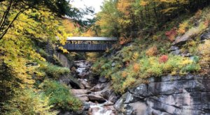 A Wooden Bridge And Waterfall Are Just Part Of What Makes The 1-Mile Whitehouse Trail In New Hampshire Unbeatable
