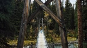 Walk Across A Suspension Bridge On Triple Lakes Trail In Alaska