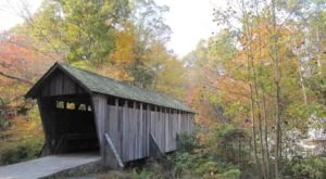 Walk Across Pisgah Covered Bridge For A Gorgeous View Of North Carolina's Fall Colors