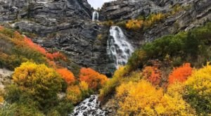 Bridal Veil Falls In Utah Is Surrounded By Beautiful Fall Colors
