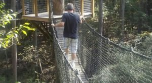 Venture Across The Swinging Bridge At Lynches River County Park In South Carolina, If You Dare