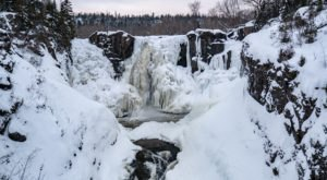 Hike To See The Frozen Beauty Of The High Falls Of The Pigeon River, Minnesota's Largest Waterfall