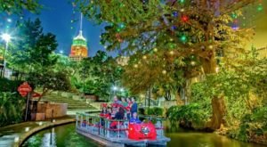 More Than 100,000 Lights Adorn The San Antonio River Walk In Texas At Christmastime
