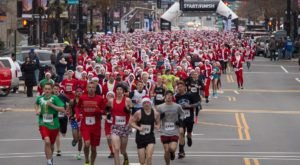 Hundreds Of Santas Descend Upon Manchester Every Year During The Santa Claus Shuffle In New Hampshire