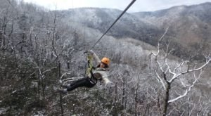 Take A Winter Zip Line Tour To Marvel Over North Carolina's Majestic Snow Covered Landscape From Above