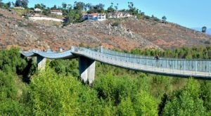 Walk Across A 990-Foot Suspension Bridge On Lake Hodges Pedestrian Bridge Trail In Southern California