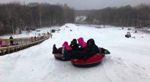 Zip Down A 600-Foot Snow Tubing Hill At Hawk Island Park In Michigan