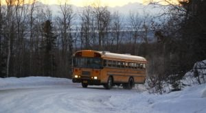Ride To The Top Of The Mountain On A Warm School Bus At Moose Mountain Ski Resort In Alaska