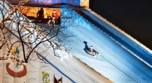 Take A Ride On A 60-Foot Tube Slide At Amish Door Winter Village In Ohio