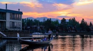 Take A Sunset Cruise Across Lake Tahoe On A Venetian Gondola For A Tranquil Evening In Northern California
