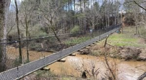 Walk Across A 180-Foot Suspension Bridge On Twelve Mile Creek Trail In South Carolina