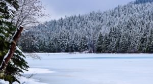 A Hike To Oregon's Iconic Trillium Lake Is A Winter Wonderland Adventure