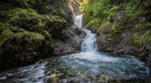 Take An Easy Out-And-Back Trail To Enter Another World At Thunder Bird Falls In Alaska