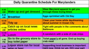 The Daily Quarantine Schedule All Marylanders Will Relate To