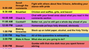 The Daily Quarantine Schedule Anyone Living In New Orleans Will Relate To