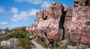 This Historic Hike At Pipestone National Monument Leads To Pink Cliffs And A Rushing Waterfall