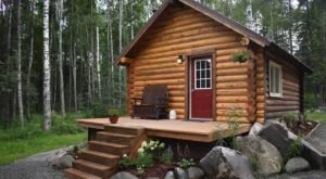There's No Better Place To Hide Out Than This Cozy Alaskan Round Log Cabin In The Woods