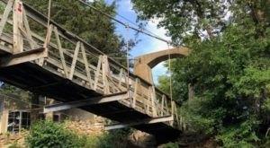 Most Iowans Haven't Heard Of The Iowa Falls Bridge, A Historic Wooden Swinging Bridge In The Hawkeye State