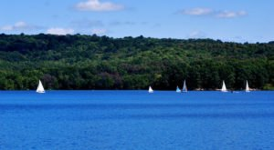 The Water Is A Brilliant Blue At Lake Arthur, A Refreshing Roadside Stop In Pennsylvania