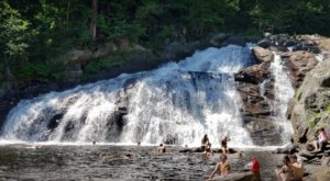The Water Is A Brilliant Blue At Profile Falls, A Refreshing Roadside Stop In New Hampshire