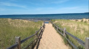 Follow A Sandy Path To The Waterfront When You Visit Au Train Beach In Michigan