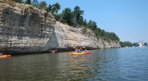 Kayak By Mesmerizing Sandstone Bluffs At Starved Rock State Park In Illinois