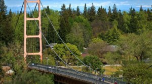 Cross A Giant 1,144-Foot Bridge With Awesome Views On The Guy West Bridge In Northern California
