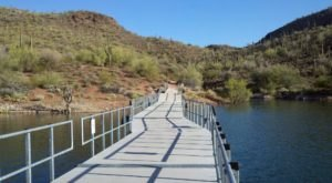 Cross A Giant Floating Bridge With Awesome Views On The Pipeline Canyon Trail In Arizona