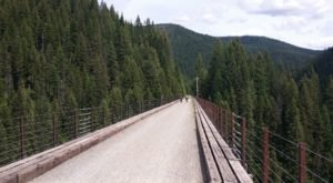 Cross Giant Bridges With Awesome Views On The Route Of The Hiawatha Trail In Montana