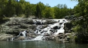 Swim At The Bottom Of A Waterfall After The Six-Mile Hike To Rocky Falls In Missouri