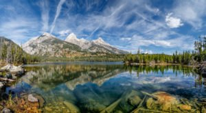 Nestled In The Wyoming Mountains, Taggart Lake Has Some Of The Clearest Water In The State