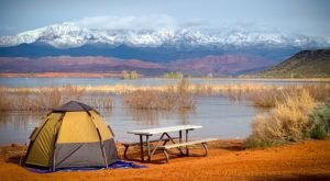Camp Right On The Shores Of The Lake At Sand Hollow State Park In Utah